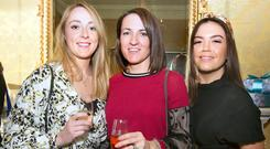 Jody Best, wife of Rory Best, the Irish captain, was photographed (centre) with Aine Lacey (left), girlfriend of prop Tadhg Furlong, and Sinead Corcoran (right), who married prop Jack McGrath last summer. Photo: Tony Gavin