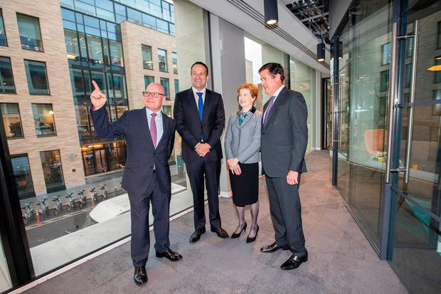 Move: Taoiseach Leo Varadkar; Kevin Wall, CEO, Barclays Bank Ireland; Helen Keelan, Chairperson; and Jes Staley, Group Chief Executive; at the opening of Barclays' new Irish office in Dublin. Photo: Naoise Culhane Photography