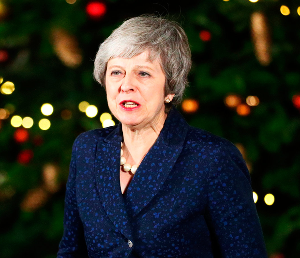 Britain's Prime Minister Theresa May speaks outside 10 Downing Street after winning a confidence vote by Conservative Party MPs. Photo: Reuters