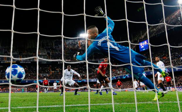 Manchester United's Marcus Rashford scores their first goal. Photo: Action Images via Reuters