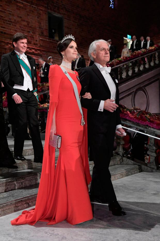 Physics laureate Gerard Mourou and Princess Sofia of Sweden arrive to the Nobel Prize banquet in Stockholm City Hall, Sweden December 10, 2018