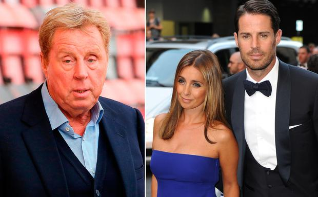 Harry Redknapp, left, and Louise and Jamie Redknapp, right