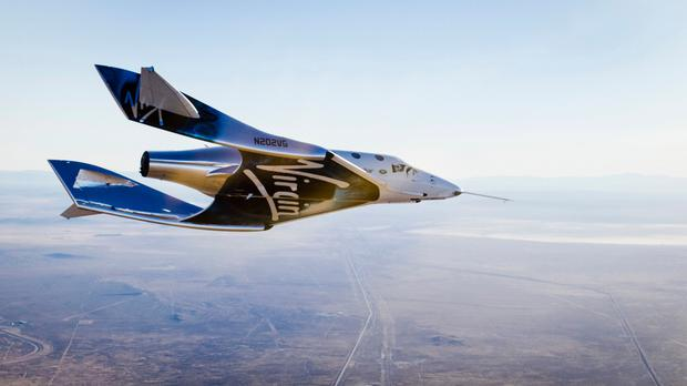 Undated handout file photo issued by Virgin Galactic of the Virgin Spaceship Unity (VSS Unity), which is undergoing final checks in preparation for a test flight from Mojave, California, to the edge of space. Photo: Virgin Galactic/PA Wire