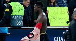 Manchester United's Paul Pogba reacts after the match