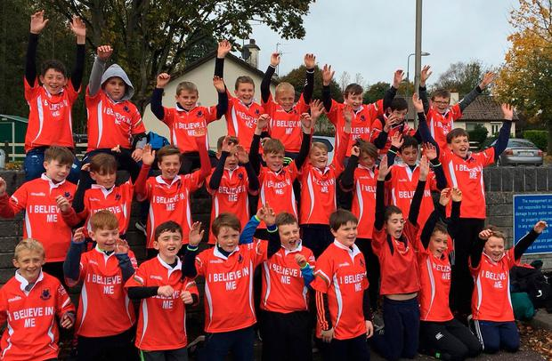 The combined U-11 and U-12 teams who played at half-time at Thomond Park during Munster's Champions Cup clash with Gloucester this season