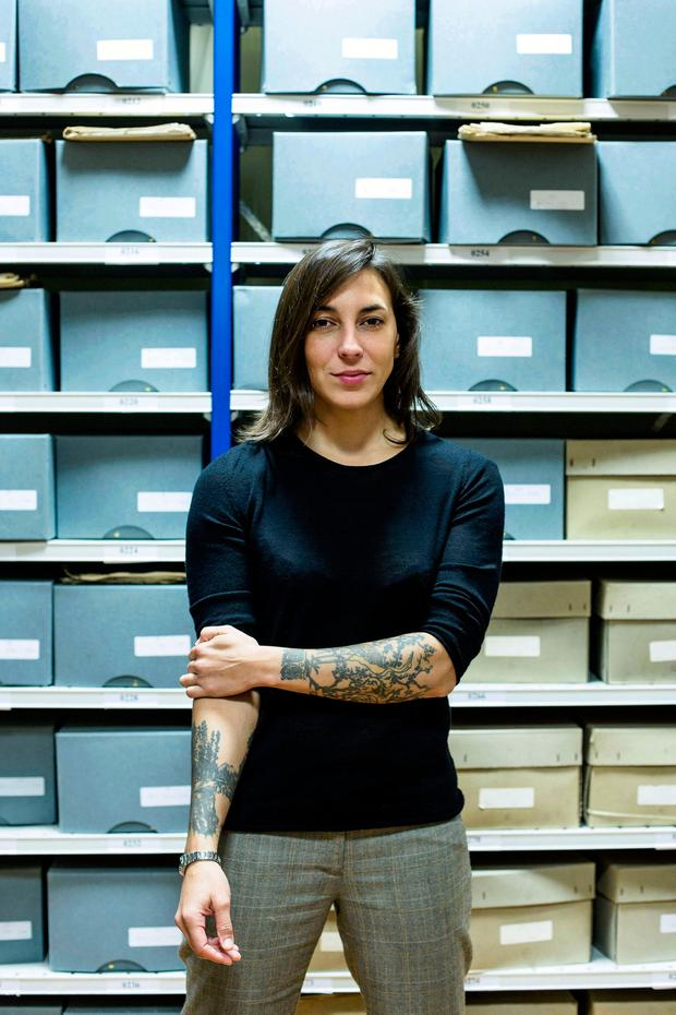 Filed away: Archivist Cécile Morgan, project manager of the Military Service Pensions Collection Project