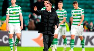 Celtic manager Brendan Rodgers acknowledges the fans. Photo: Graham Stuart/PA Wire