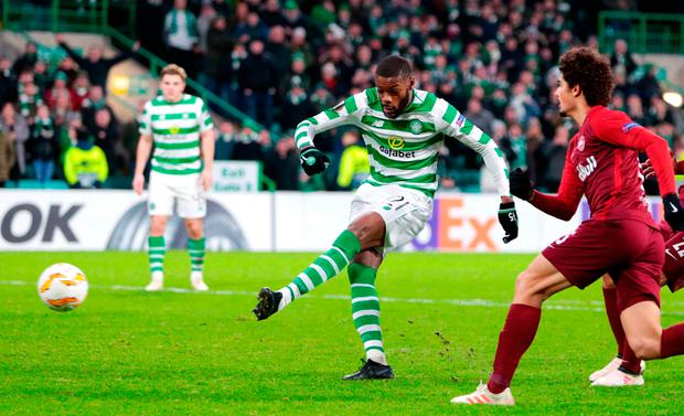 Olivier Ntcham scores from the penalty spot. Photo: Graham Stuart/PA Wire