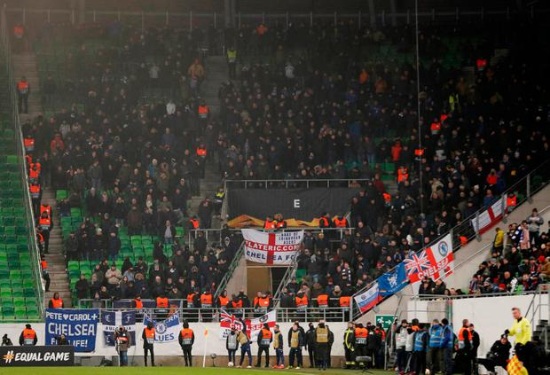 A general view of the travelling Chelsea fans. Photo: Action Images via Reuters/Matthew Childs