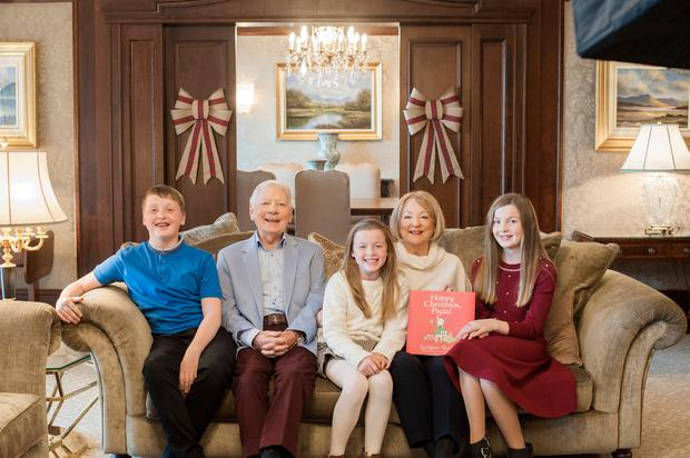 Family story: Broadcasting legend Gay Byrne and Kathleen Watkins with grandchildren Cian, Saoirse and Sadhbh. PHOTO: VIP MAGAZINE