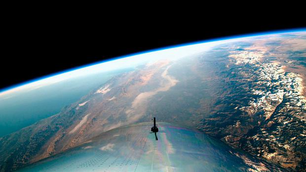 Virgin Galactic handout photo of the view from the cockpit during the successful test flight of SpaceShipTwo, VSS Unity. Photo: Virgin Galactic/PA Wire