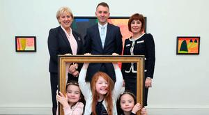 In the frame: Charley Carroll (left), Mary Kate Kelly, and Isabella Carroll with Business Minister Heather Humphreys, Andrew Hetherington, and Culture Minister Josepha Madigan, at the launch of the Artist in Residence Programme call for expressions of interest as part of the Creative Ireland Programme's National Creativity Fund. Photo: Robbie Reynolds