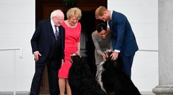 Welcome: President Higgins and his wife Sabina with Britain's Prince Harry and his wife Meghan at Áras an Uachtaráin in July. Photo: Andrew Parsons/Getty