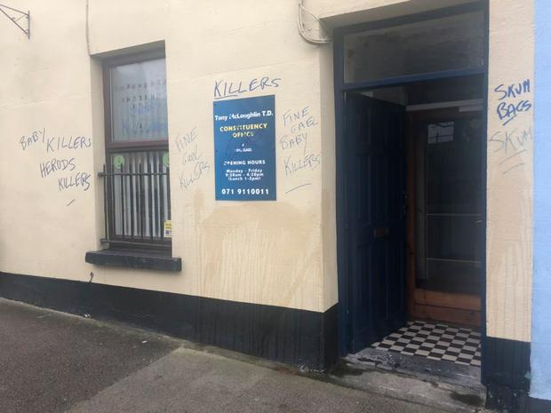 Sligo-Leitrim TD Tony McLoughlin said gardaí are investigating after his constituency office was defaced