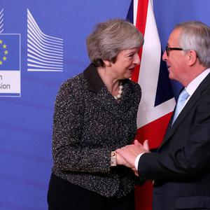 British Prime Minister Theresa May meets with European Commission President Jean-Claude Juncker to discuss Brexit, at the European Commission headquarters in Brussels, Belgium December 11, 2018. REUTERS/Yves Herman