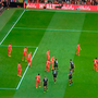 Figure 1: Liverpool's standard defensive set-up with three players on six-yard box to attack ball, and four in front of them to block runs