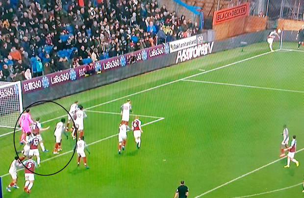 Figure 4: As Burnley's corner is taken Liverpool players start to clear the six-yard box even though it means leaving opponents free