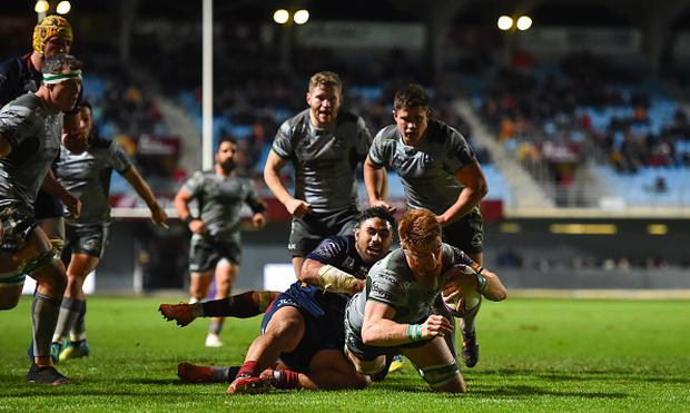 Sean O'Brien of Connacht goes over to score his second and his side's third try against Perpignan (Photo By Brendan Moran/Sportsfile via Getty Images)
