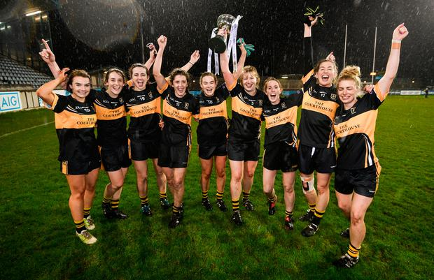 Mourneabbey players celebrate with the Dolores Tyrrell Memorial Cup following their All-Ireland Ladies Football Senior Club Championship Final victory over Foxrock-Cabinteely at Parnell Park last weekend. Photo: Sportsfile