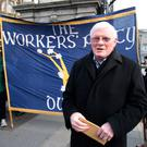 Committed socialist: Seán Garland at a protest for the release of peace activist Margaretta D'Arcy outside Leinster House in 2014. Photo: Tom Burke