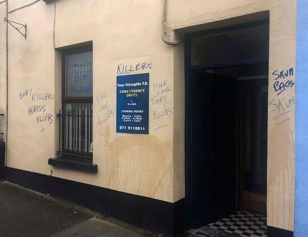 Sligo-Leitrim TD Tony McLoughlin expressed his disappointment that his office was targeted with the graffiti. Picture: James Connolly