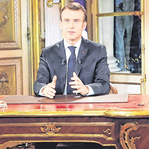 More people in France watched Macron's TV speech than the World Cup final. Photo: Ludovic Marin/AP