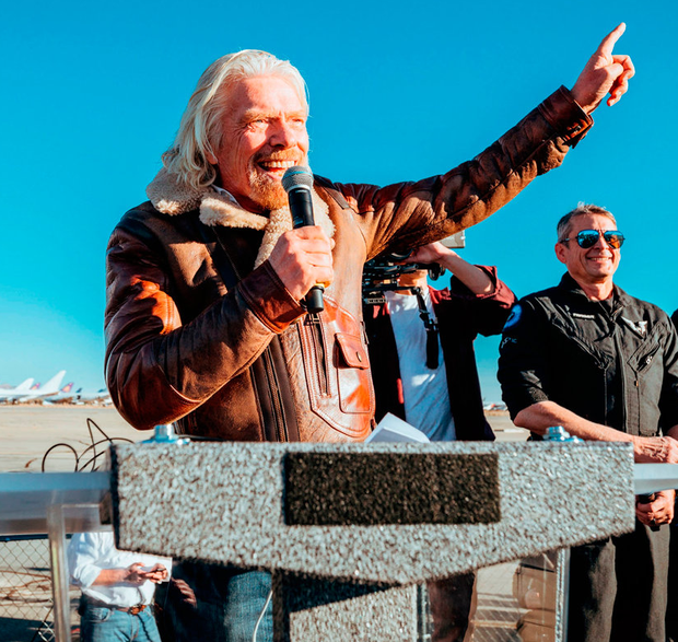 Sir Richard Branson celebrates the Virgin Galactic test flight in California. Photo: Virgin Galactic/PA