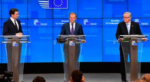 Austrian Chancellor Sebastian Kurz, European Council President Donald Tusk and European Commission President Jean-Claude Juncker hold a media conference at the conclusion of an EU summit in Brussels yesterday. European Union leaders have vowed to step up preparations for a potentially-catastrophic no-deal scenario. Photo: AP