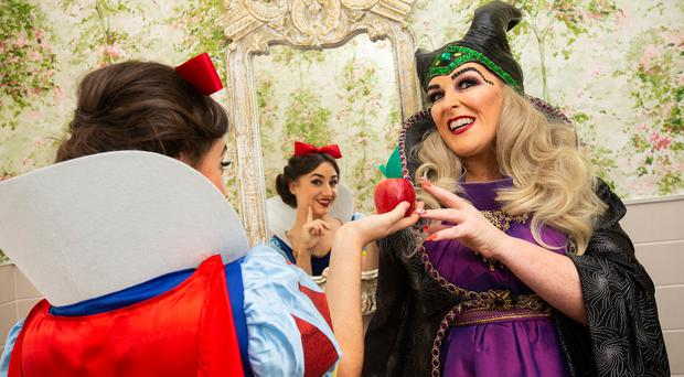 Hayley-Jo Murphy as Snow White and Katherine Lynch as the Wicked Queen Varicosa