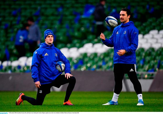 Jonathan Sexton, left, and James Lowe during the captain's run at the Aviva Stadium ahead of Bath clash