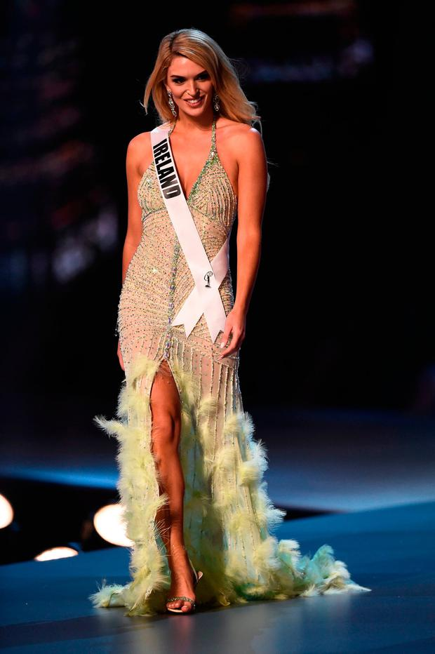 Grainne Gallanagh of Ireland competes in the evening gown competition during the 2018 Miss Universe pageant in Bangkok on December 13, 2018. (Photo by Lillian SUWANRUMPHA / AFP)