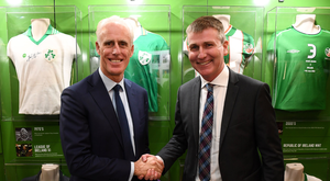 30 November 2018; Republic of Ireland manager Mick McCarthy, left, and Republic of Ireland U21 manager Stephen Kenny at the Printworks, Dublin Castle, Dublin. Photo by Stephen McCarthy/Sportsfile
