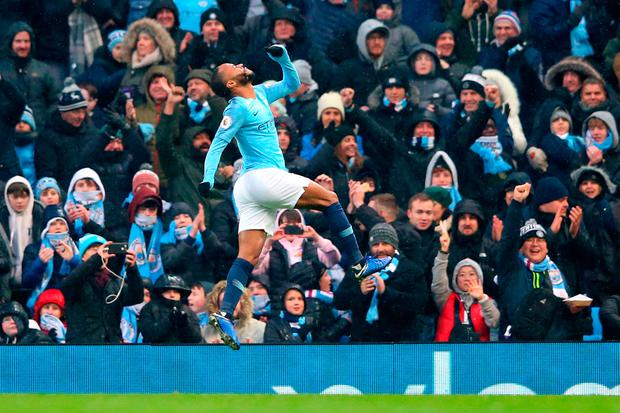 MANCHESTER, ENGLAND - DECEMBER 15: Raheem Sterling of Manchester City celebrates after scoring his team's third goal during the Premier League match between Manchester City and Everton FC at Etihad Stadium on December 15, 2018 in Manchester, United Kingdom. (Photo by Alex Livesey/Getty Images)