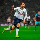 LONDON, ENGLAND - DECEMBER 15: Christian Eriksen of Tottenham Hotspur celebrates after scoring his team's first goal during the Premier League match between Tottenham Hotspur and Burnley FC at Tottenham Hotspur Stadium on December 15, 2018 in London, United Kingdom. (Photo by Mike Hewitt/Getty Images)