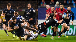Jack Conan (left) scored a try for Leinster while Conor Murray is in for a tough day in Castres.