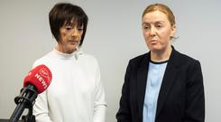 Eilidh MacNab from Tusla Child and Family Agency (left) & Sergeant Fiona Savidge, speaking at a press conference in Balbriggan. Picture by Fergal Phillips.