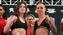 14 December 2018; Katie Tayor, left, and Eva Wahlstrom, at Madison Square Garden, prior to their WBA & IBF World Lightweight Championship bout on Saturday night at Madison Square Garden in New York City, NY, USA. Photo by Ed Mulholland / Matchroom Boxing USA via Sportsfile