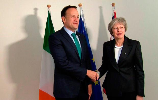 British Prime Minister Theresa May shakes hands with Taoiseach Leo Varadkar in Brussels Picture: Sky News/AP