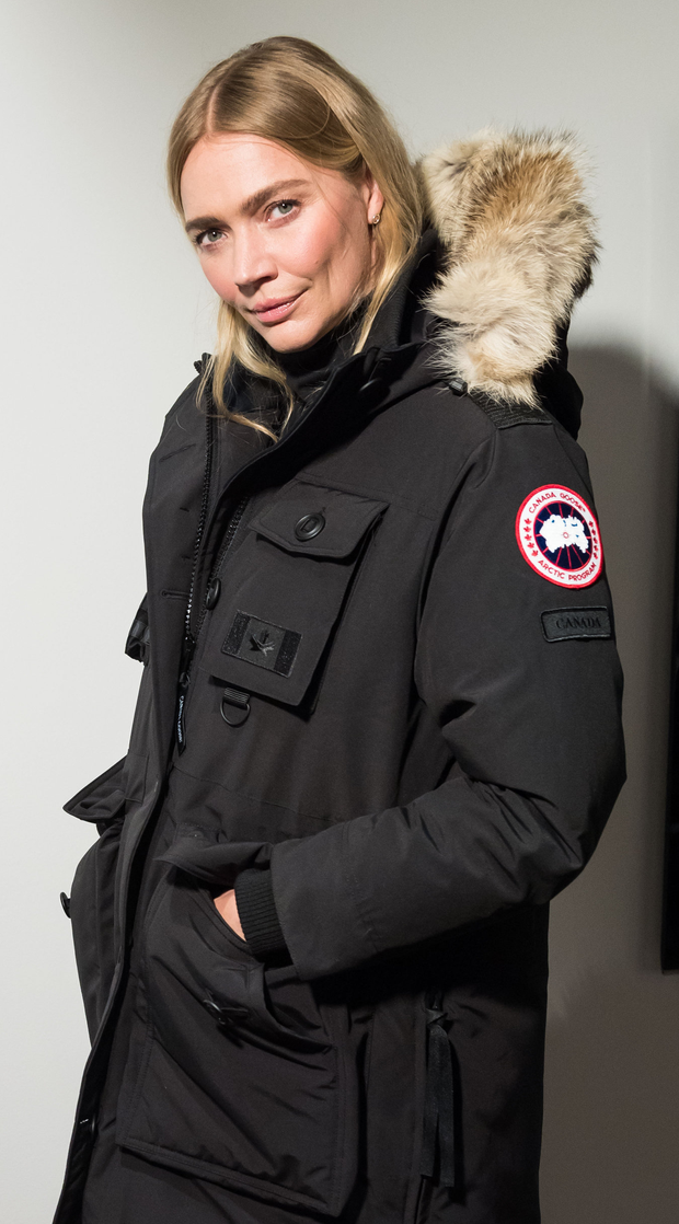 Model Jodie Kidd prepares backstage before a Canada Goose event in London
