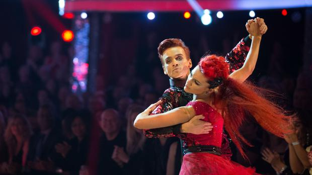 Joe Sugg and Dianne Buswell dance in the Strictly Come Dancing final (Guy Levy/BBC/PA)