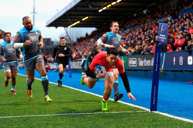 Saracens wing Sean Maitland crosses for the first try. Photo: Stu Forster/Getty Images