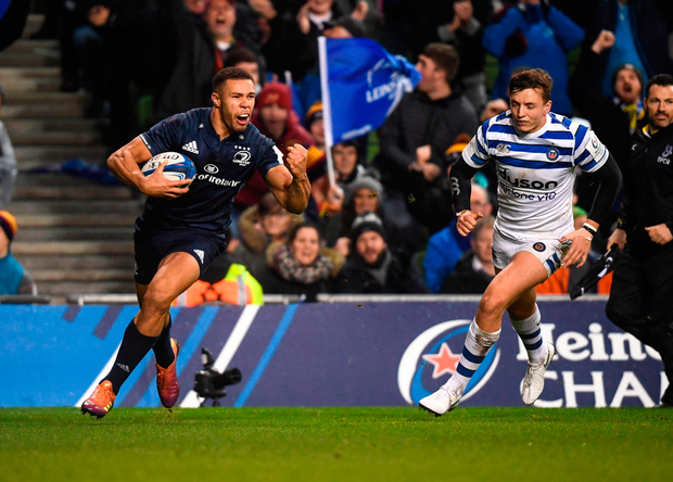 Leinster's Adam Byrne celebrates on his way to scoring the fourth of his side's six tries in their Champions Cup victory over Bath at the Aviva Stadium yesterday. Leinster won 42-15. Photo: David Fitzgerald/Sportsfile