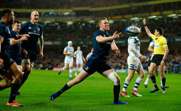 Rory O'Loughlin of Leinster celebrates after scoring their second try. Photo: David Rogers/Getty Images