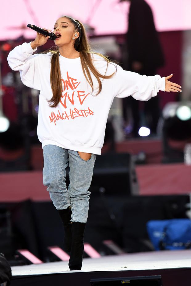 Ariana Grande performing during the One Love Manchester benefit concert (Dave Hogan/One Love Manchester/PA)