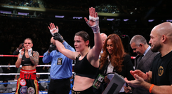 15 December 2018; Katie Taylor after defeating Eva Wahlstrom in their WBA & IBF World Lightweight Championship fight at Madison Square Garden in New York, USA. Photo by Ed Mulholland / Matchroom Boxing USA via Sportsfile