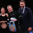 15 December 2018; Katie Taylor with trainer Ross Enamait, left, manager Brian Peters, and promoter Eddie Hearn, right, after defeating Eva Wahlstrom in their WBA & IBF World Lightweight Championship fight at Madison Square Garden in New York, USA. Photo by Ed Mulholland / Matchroom Boxing USA via Sportsfile