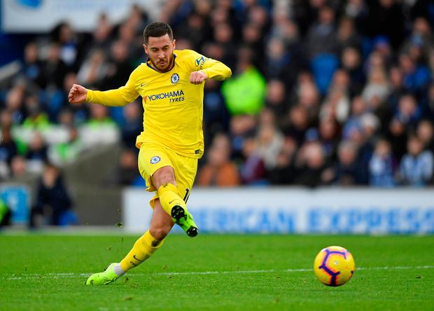 Soccer Football - Premier League - Brighton & Hove Albion v Chelsea - The American Express Community Stadium, Brighton, Britain - December 16, 2018 Chelsea's Eden Hazard scores their second goal. REUTERS/Toby Melville