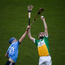 16 December 2018; Chathal O'Brien of Offaly in action against Conor Burke of Dublin during the Bord na Móna Walsh Cup Round 2 match between Dublin and Offaly at Parnell Park, Dublin. Photo by Harry Murphy/Sportsfile