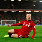 Soccer Football - Premier League - Liverpool v Manchester United - Anfield, Liverpool, Britain - December 16, 2018 Liverpool's Xherdan Shaqiri celebrates scoring their second goal REUTERS/Phil Noble