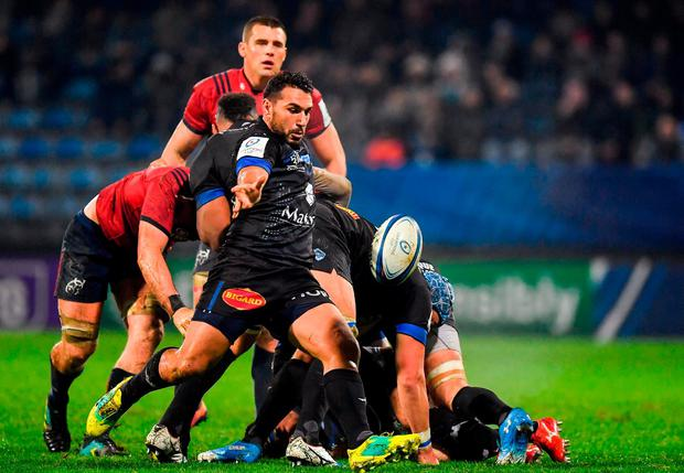 Ludovic Radosavljevic of Castres Olympique clears the ball down field. Photo: Brendan Moran/Sportsfile